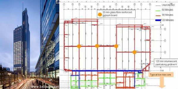Металлоконструкции с различными пределами и классами огнестойкости в плане Heron Tower