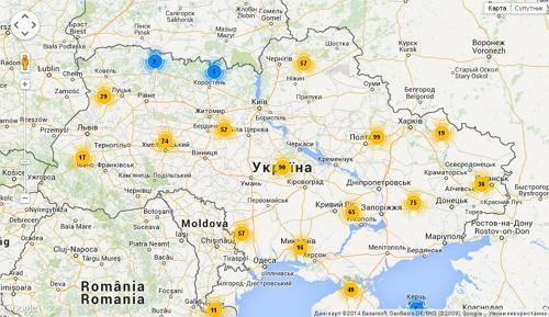 Карта элеваторов Украины